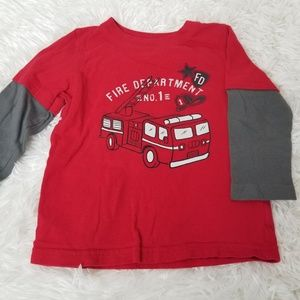 Jumping Beans Red Fire Truck Long Sleeve Shirt